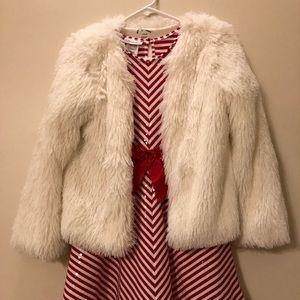 White Faux Fur Art Class jacket size 10/12